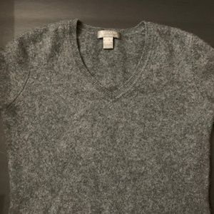 Charter Club 2-Ply Cashmere Sweater Gray V-Neck